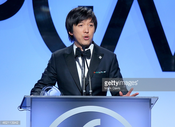 Dan Lin at The Producers Guild Awards wins award for THE LEGO MOVIE Grooming and cut by Victor Lomeli